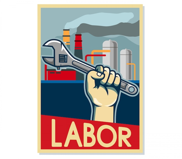 Arbeider popart poster in de fabriek