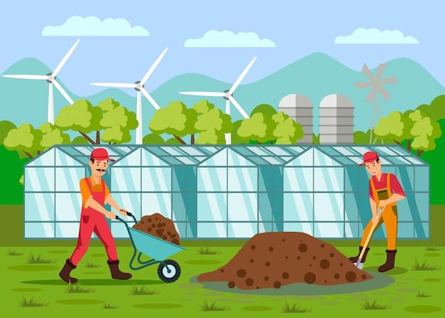 Arbeiders die grond vlakke vectorillustratie graven