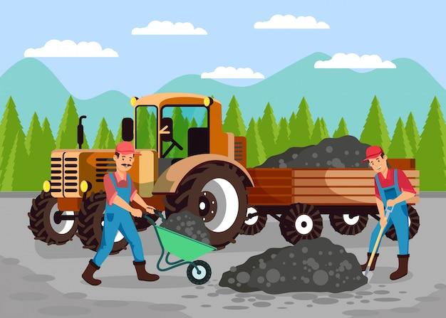 Arbeiders die weg vlakke vectorillustratie herstellen
