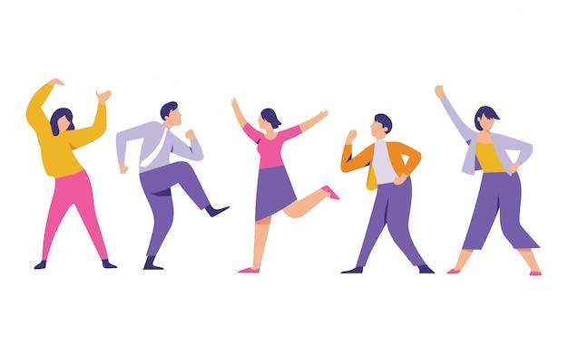 Arbeidersmannen en -vrouwen dansen voor een succesvol bedrijf en genieten van het feest