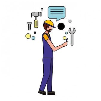 Arbeidersmens die mobiele media pictogrammen gebruiken