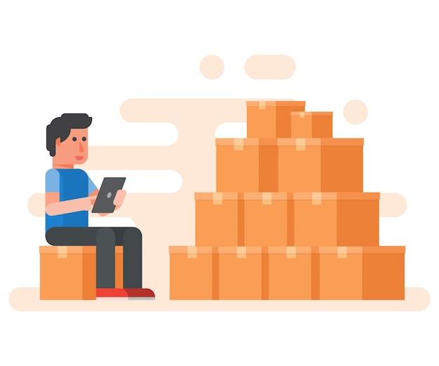 Arbeiderspakhuis die dozen met tablet controleren. product op voorraad.