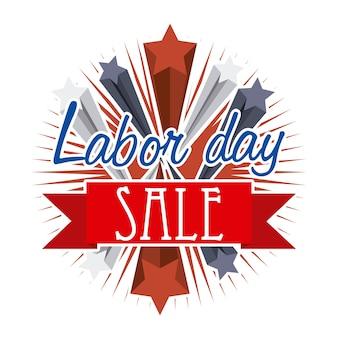 Arbeidsdag verkoop over witte achtergrond vectorillustratie