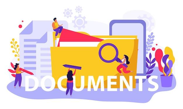 Arbeidsdienst en arbeidsdocumenten platte samenstelling van tekst en doodle mensen met bestanden en mappen