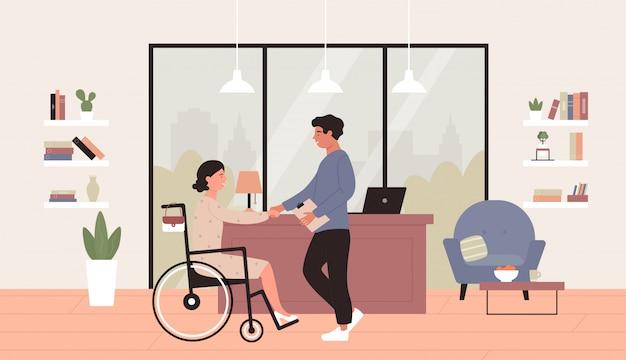 Arbeidsongeschiktheid illustratie. cartoon plat gelukkig jonge vrouw in rolstoel hand schudden met zakenpartner of baas in kantoor, baan toegankelijkheid gehandicapte concept achtergrond