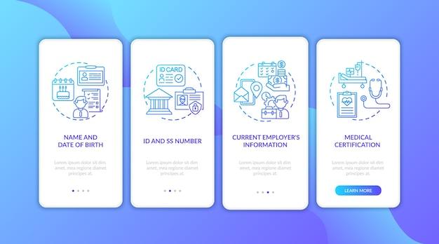 Arbeidsongeschiktheidsverzekering claiminformatie bij het instappen van het mobiele app-paginascherm met concepten.
