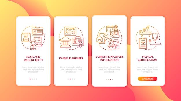 Arbeidsongeschiktheidsverzekering claiminformatie onboarding mobiele app-paginascherm met concepten.
