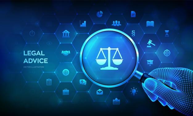 Arbeidsrecht, advocaat, advocaat, juridisch advies concept met vergrootglas in wireframe hand en pictogrammen. internetrecht en cyberrecht als digitale juridische dienstverlening of online advocaatadvies. vector illustratie.