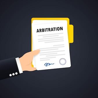 Arbitrageovereenkomst illustratie. juridische oplossing conflict. Premium Vector