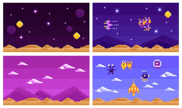 Arcade computerspel set horizontale composities
