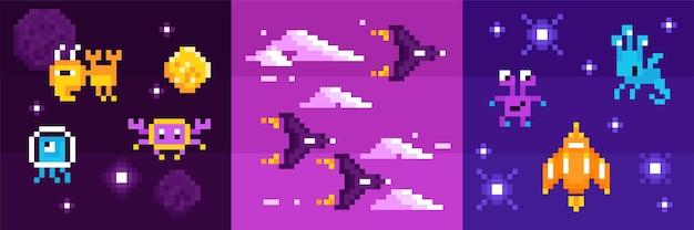 Arcade computerspel vierkante composities van buitenaardse wezens van ruimtemonsters en gevechtsruimteschepen