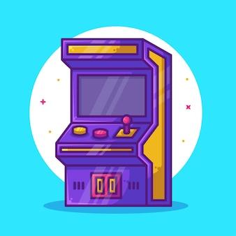 Arcade game cartoon illustratie geïsoleerde videogame logo vector pictogram illustratie in vlakke stijl