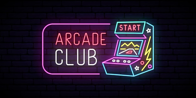 Arcade game machine neon teken.