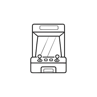Arcade game machine scherm hand getrokken schets doodle pictogram. retro arcade-machine, concept voor spelmachines