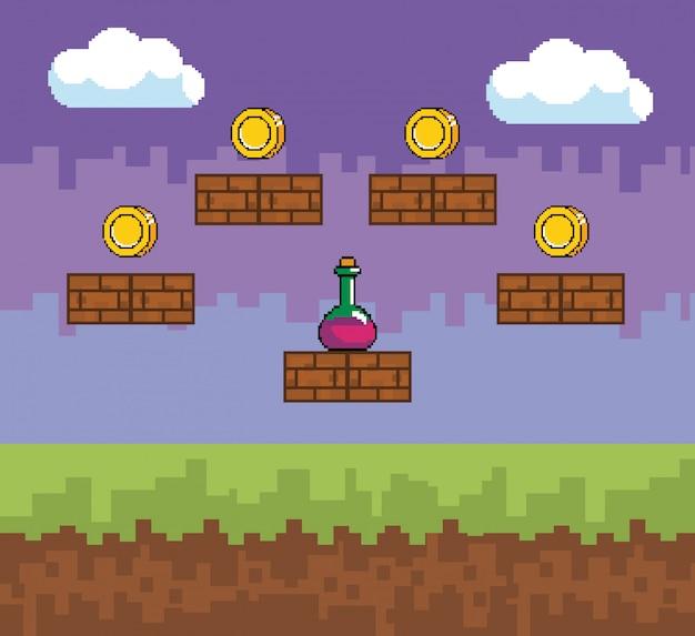 Arcade-gamewereld en pixelscène