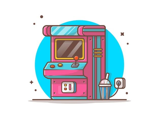 Arcademachine met soda-pictogramillustratie