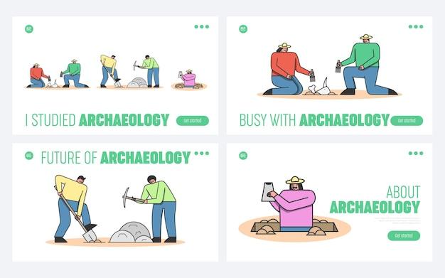 Archeologen graven oude overblijfselen op in antieke ruïnes en gebruiken professionele gereedschappen