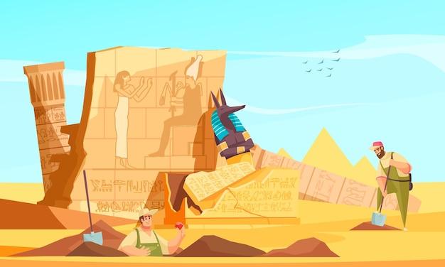Archeologen ontdekken de vlakke compositie van oude egyptische graven met het graven en onthullen van de muren van de grafkamer in het hiernamaals godfiguur
