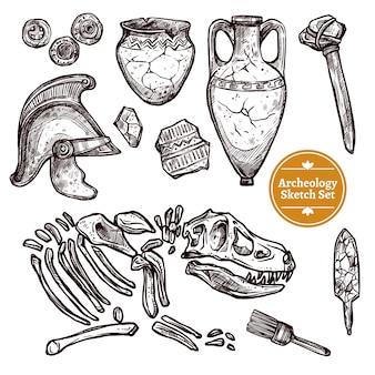 Archeologie hand getrokken schets set