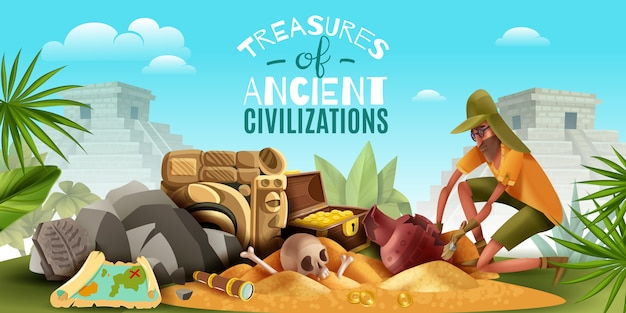 Archeologie horizontale compositie met sierlijke tekst en buitenlandschap met archeoloog graven grond vol met artefacten