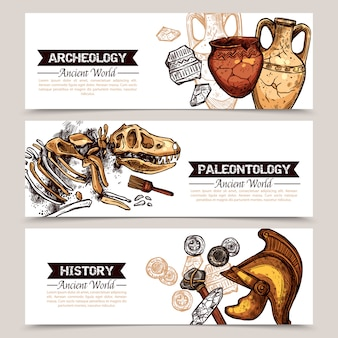 Archeologie horizontale schets gekleurde banners