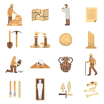 Archeologie icons set