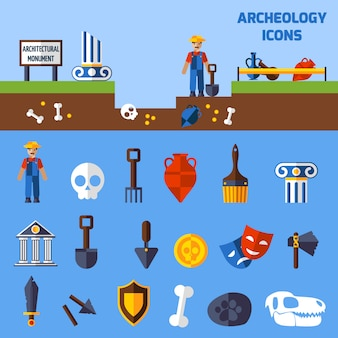 Archeologie icons set