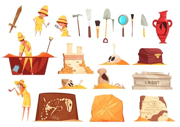 Archeologie set van pictogrammen met ontdekkingsreizigers