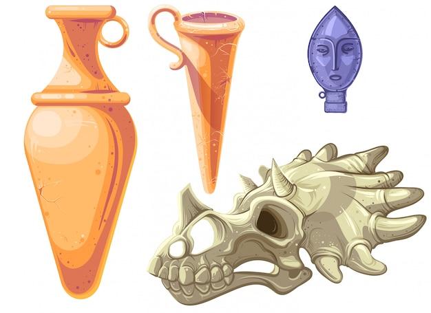 Archeologische en paleontologische vondsten cartoon