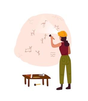 Archeologische ontdekking, grotschildering platte vectorillustratie. vrouwelijke archeoloog die oude tekeningen, rotstekeningen op het stripfiguur van de grotmuur onderzoekt. erfgoed uit de steentijd, prehistorische kunst.