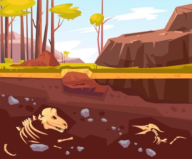 Archeologische opgravingen in natuurlijk landschap