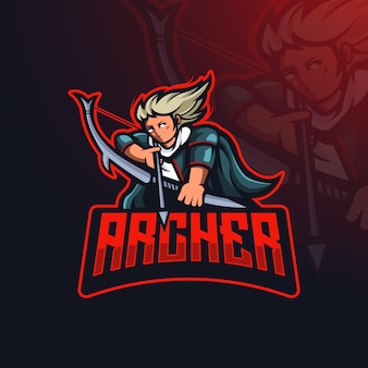 Archer gedetailleerde esport gaming-logo sjabloon