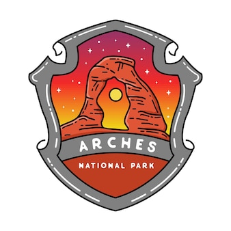 Arches national park monoline-badge