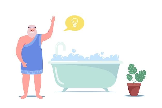 Archimedes van syracusa karakter oud genie wiskundige uitvinder die eureka zegt in bath