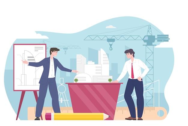 Architect, bouwingenieur of aannemer, bouwnijverheid. architectonische engineering projectplanning, ontwikkeling, goedkeuring, bespreken regeling, vecor vlakke afbeelding.