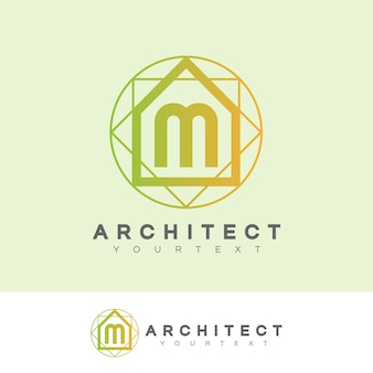 Architect eerste letter m logo ontwerp