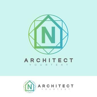 Architect eerste letter n logo ontwerp