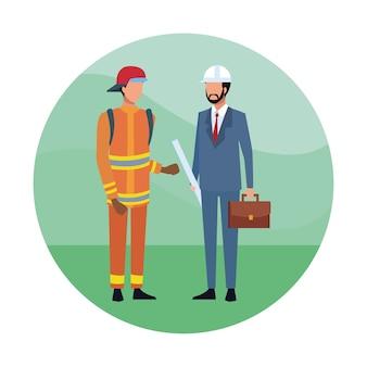 Architect en brandweerman