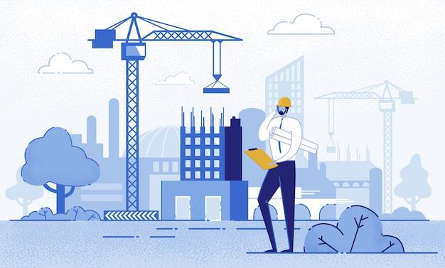 Architect holding blueprints in de buurt van de bouw.