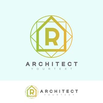 Architect in eerste letter r logo ontwerp