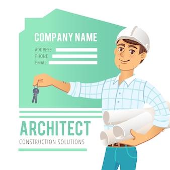 Architect in helm met blauwdrukken en sleutels in de hand tegen de achtergrond van gebouwd huis