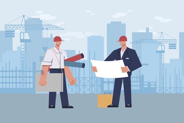 Architect op bouwplaats. meestervoorman met helm op zijn hoofd met diagram in handen tijdens bouw op stedelijke landschapswolkenkrabber en kraan, platte cartoon moderne vectorillustratie