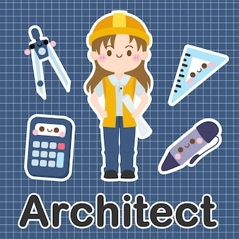 Architect - set van bezetting schattig kawaii stripfiguur