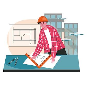 Architect tekent het concept van de blauwdrukscène. ingenieur in helmtekeningproject van de bouw. aannemer werkt op de bouwplaats, mensen activiteiten. vectorillustratie van karakters in plat ontwerp