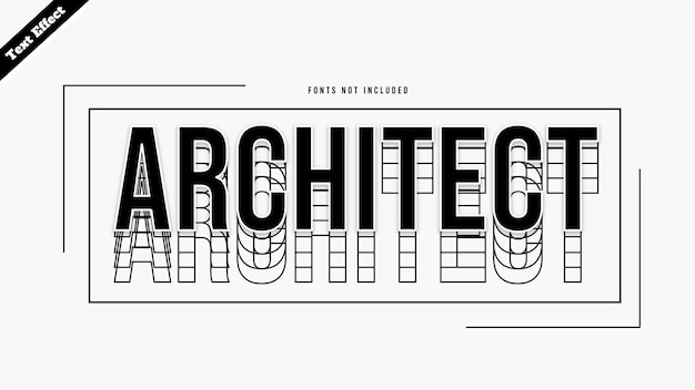 Architect tekst effect ontwerp vector. bewerkbare 3d-tekst