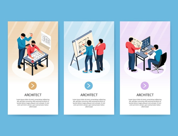 Architect verticale banners met ontwerpers die bouwprojecten ontwikkelen op hun werkplek