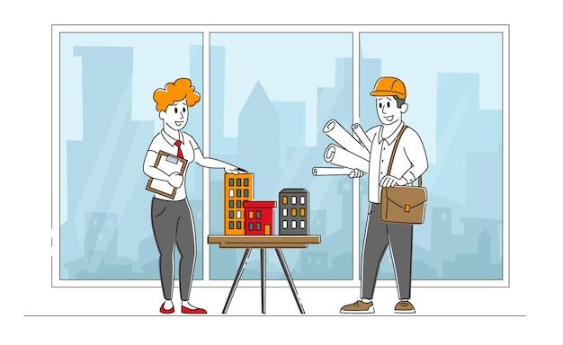 Architect vrouw of ingenieur karakter presenteren model van huis