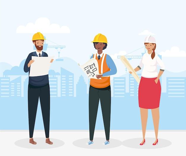 Architecten en ingenieur met helmen bij stadsontwerp van bouw remodellering en werkthema vector illustratie