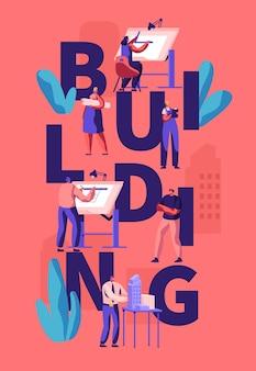 Architecten en ingenieurs werken aan projecten, schilderen op blauwdrukken, presenteren een huismodel. cartoon vlakke afbeelding