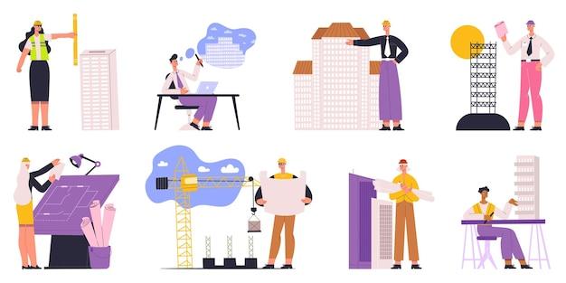 Architecten, ingenieurs, bouwers en bouwvakkers karakters. professionele bouwer, architect, ingenieur vectorillustratie. bouwkundig projectmedewerkers. teamwork ontwikkeling architectuur